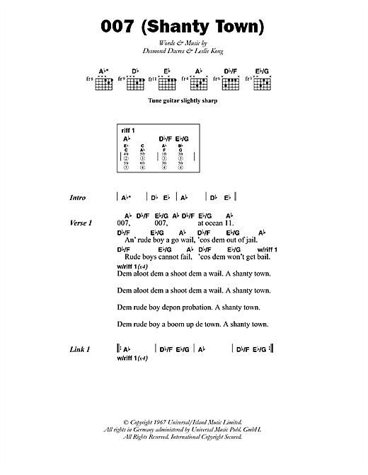 Desmond Dekker 007 (Shanty Town) sheet music notes printable PDF score