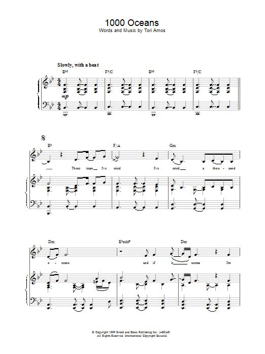 Tori Amos 1000 Oceans sheet music notes printable PDF score