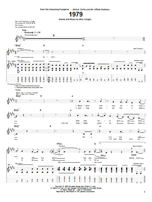 The Smashing Pumpkins 1979 sheet music notes printable PDF score