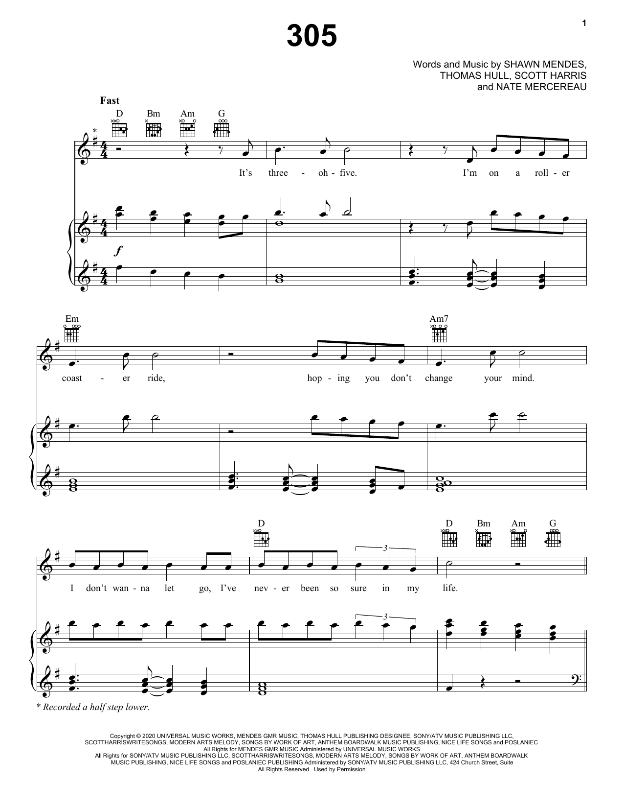 Shawn Mendes 305 sheet music notes printable PDF score