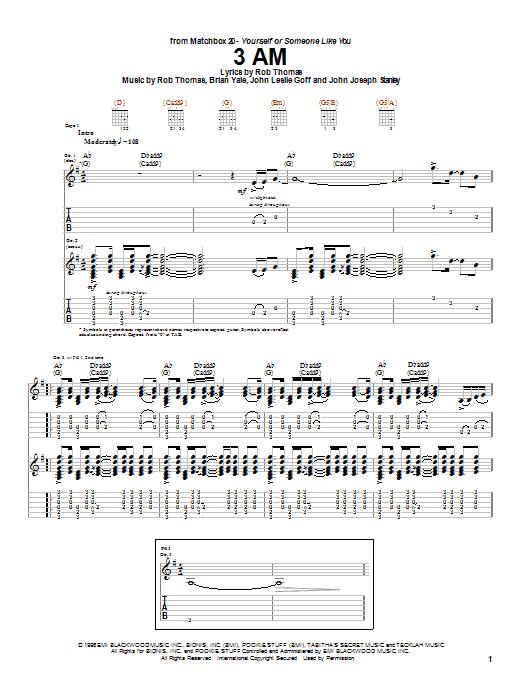 Matchbox Twenty 3 AM sheet music notes printable PDF score