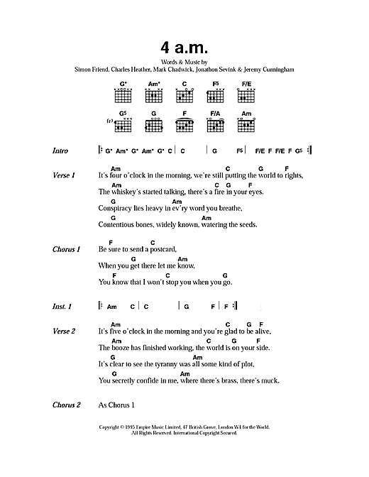 The Levellers 4am sheet music notes printable PDF score