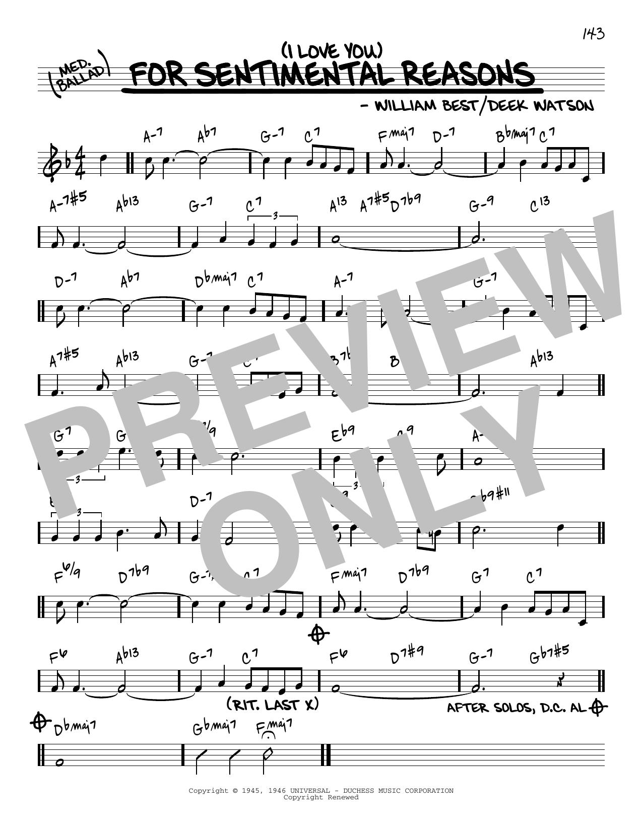 King Cole Trio (I Love You) For Sentimental Reasons [Reharmonized version] (arr. Jack Grassel) sheet music notes printable PDF score