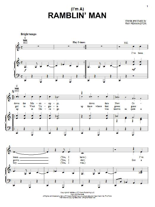 Waylon Jennings (I'm A) Ramblin' Man sheet music notes printable PDF score