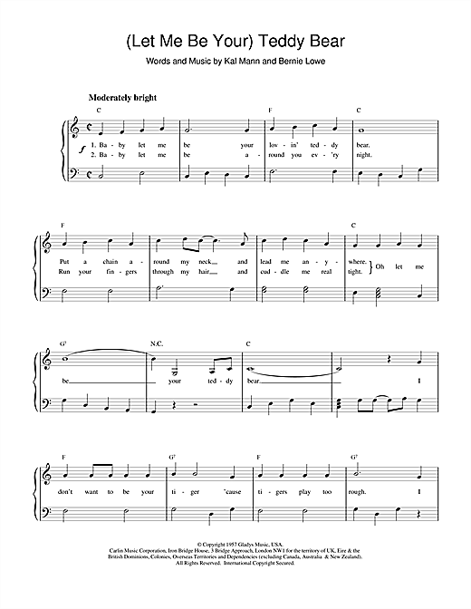 Elvis Presley (Let Me Be Your) Teddy Bear sheet music notes printable PDF score