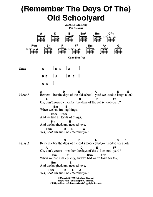 Cat Stevens (Remember The Days Of The) Old Schoolyard (from the musical 'Moonshadow') sheet music notes printable PDF score