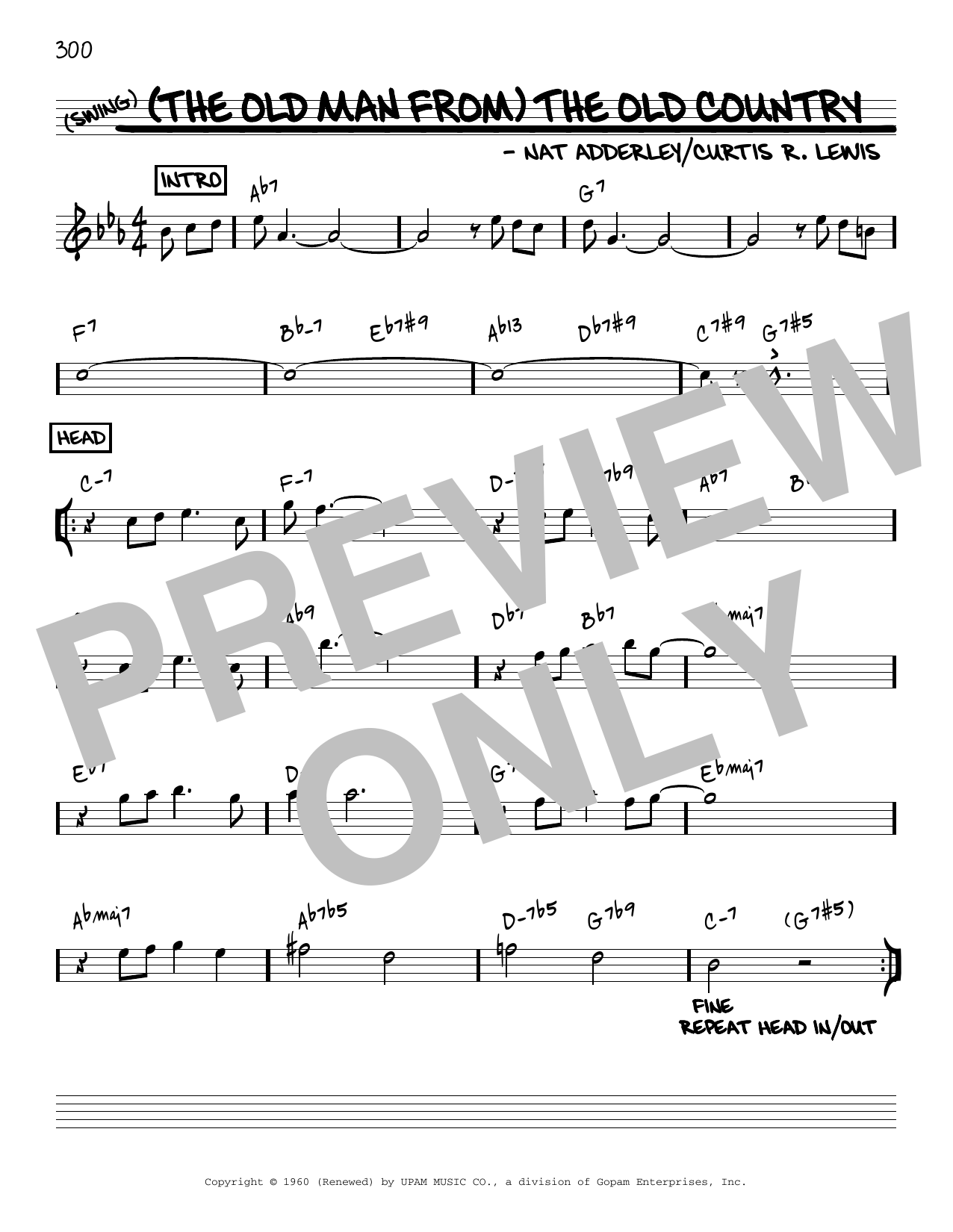 Nat Adderley (The Old Man From) The Old Country [Reharmonized version] (arr. Jack Grassel) sheet music notes printable PDF score