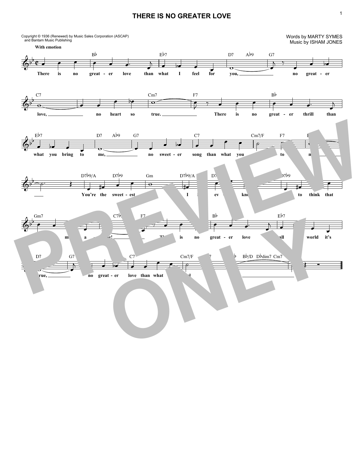 Isham Jones (There Is) No Greater Love sheet music notes printable PDF score