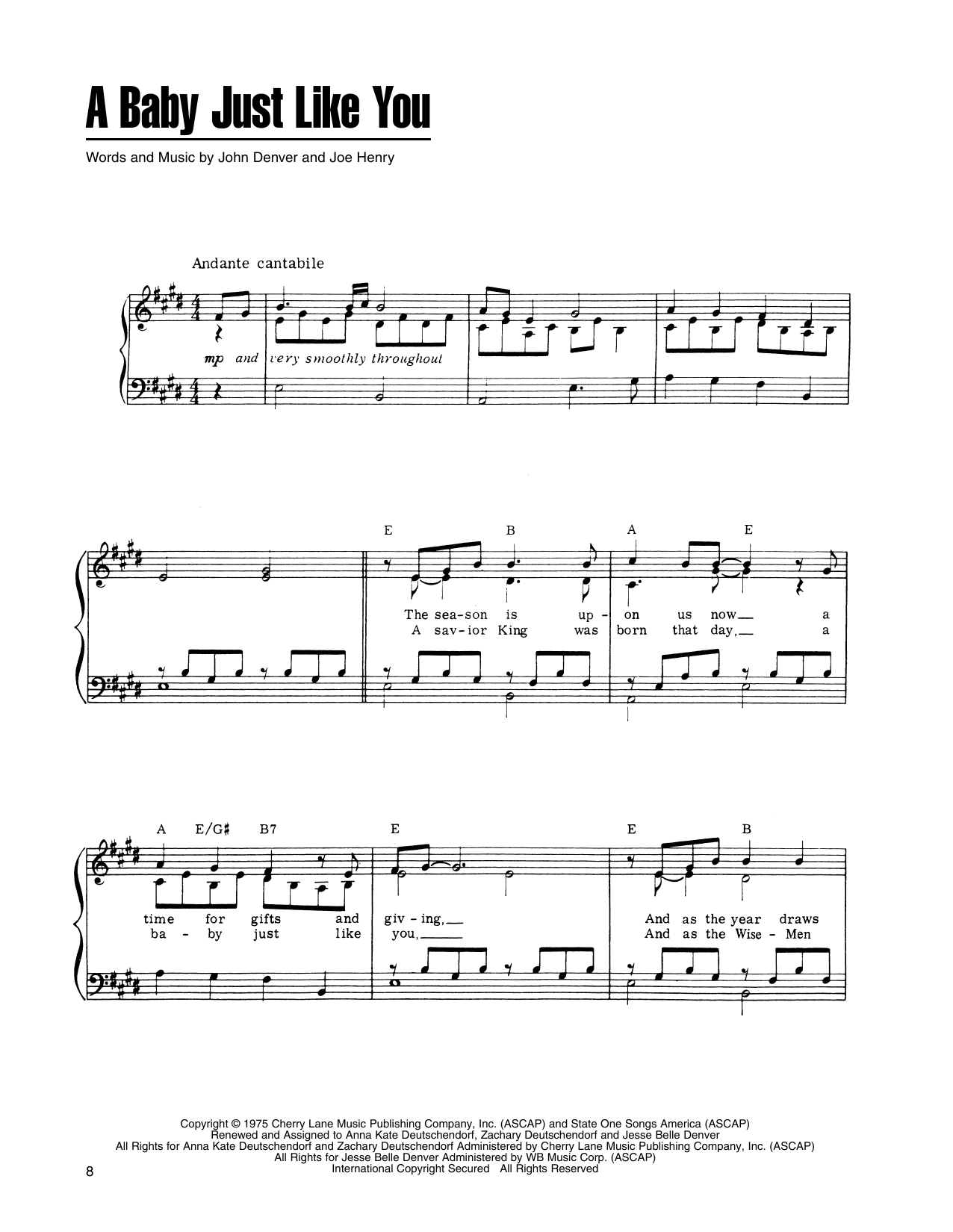 John Denver and The Muppets A Baby Just Like You (from A Christmas Together) sheet music notes printable PDF score