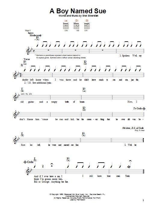 Johnny Cash A Boy Named Sue sheet music notes printable PDF score