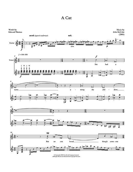 John McCabe A Cat (for mezzo-soprano & guitar) sheet music notes printable PDF score