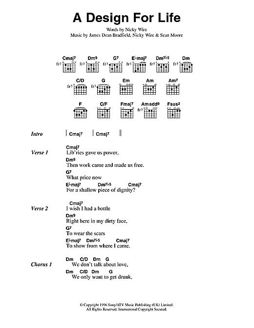 Manic Street Preachers A Design For Life sheet music notes printable PDF score