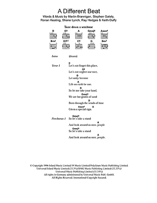 Boyzone A Different Beat sheet music notes printable PDF score