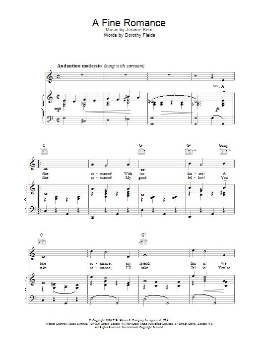 Frank Sinatra A Fine Romance sheet music notes printable PDF score