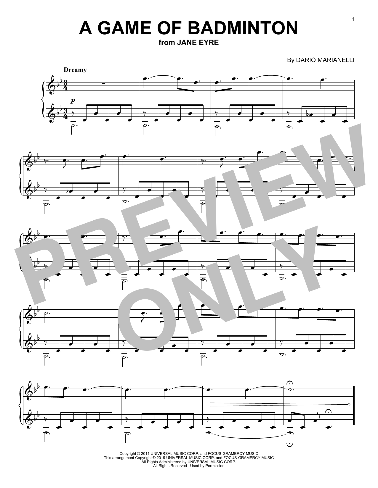 Dario Marianelli A Game Of Badminton (from Jane Eyre) sheet music notes printable PDF score