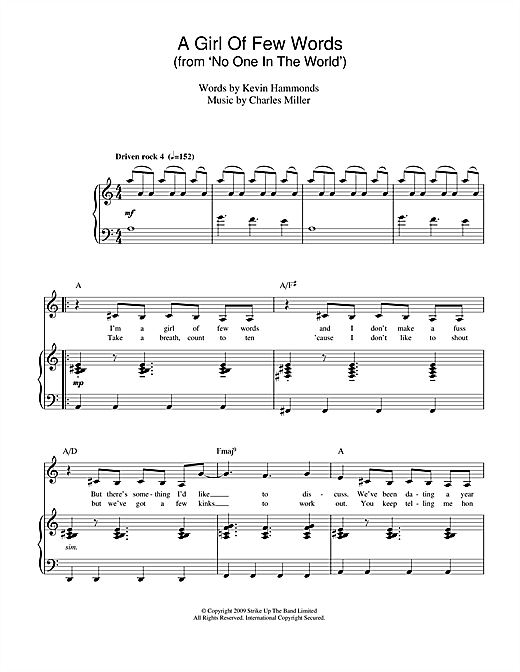 Charles Miller & Kevin Hammonds A Girl Of Few Words (from No One In The World) sheet music notes printable PDF score