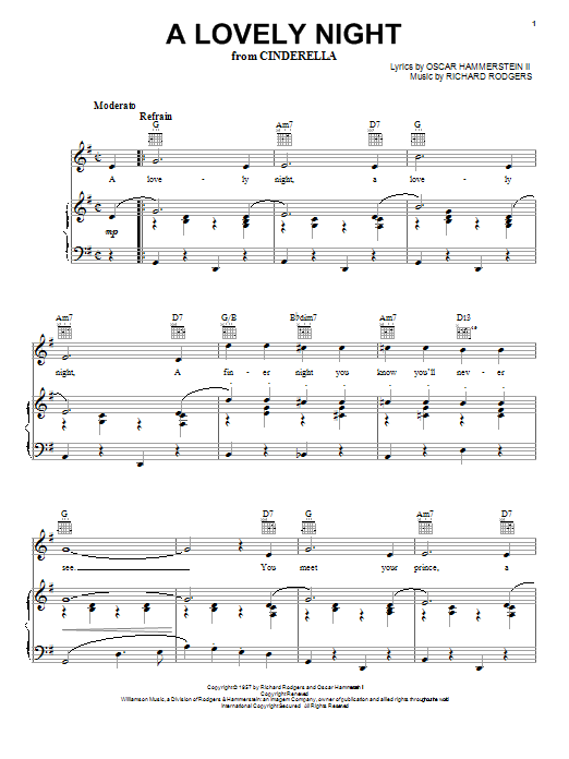 Rodgers & Hammerstein A Lovely Night (from Cinderella) sheet music notes printable PDF score