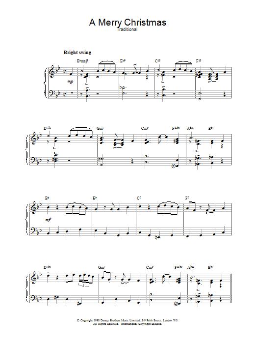 Christmas Carol A Merry Christmas (jazzy arrangement) sheet music notes printable PDF score