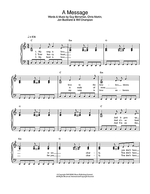 Coldplay A Message sheet music notes printable PDF score