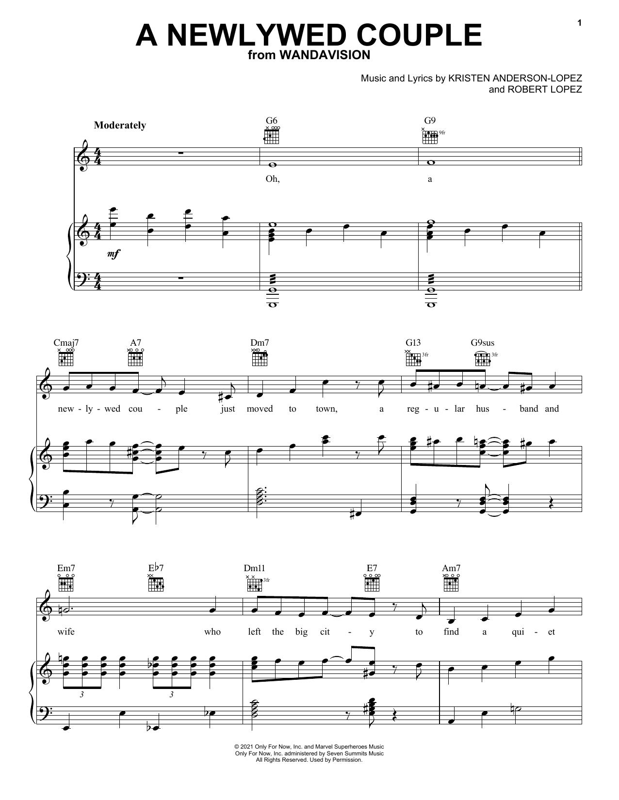 Kristen Anderson-Lopez & Robert Lopez A Newlywed Couple (from WandaVision) sheet music notes printable PDF score