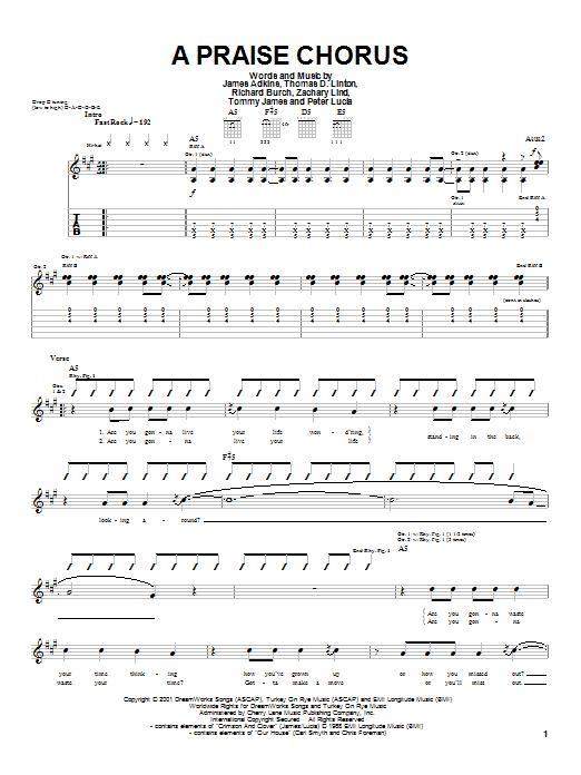 Jimmy Eat World A Praise Chorus sheet music notes printable PDF score
