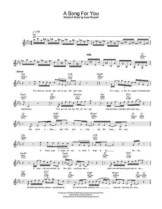 Ray Charles A Song For You sheet music notes printable PDF score