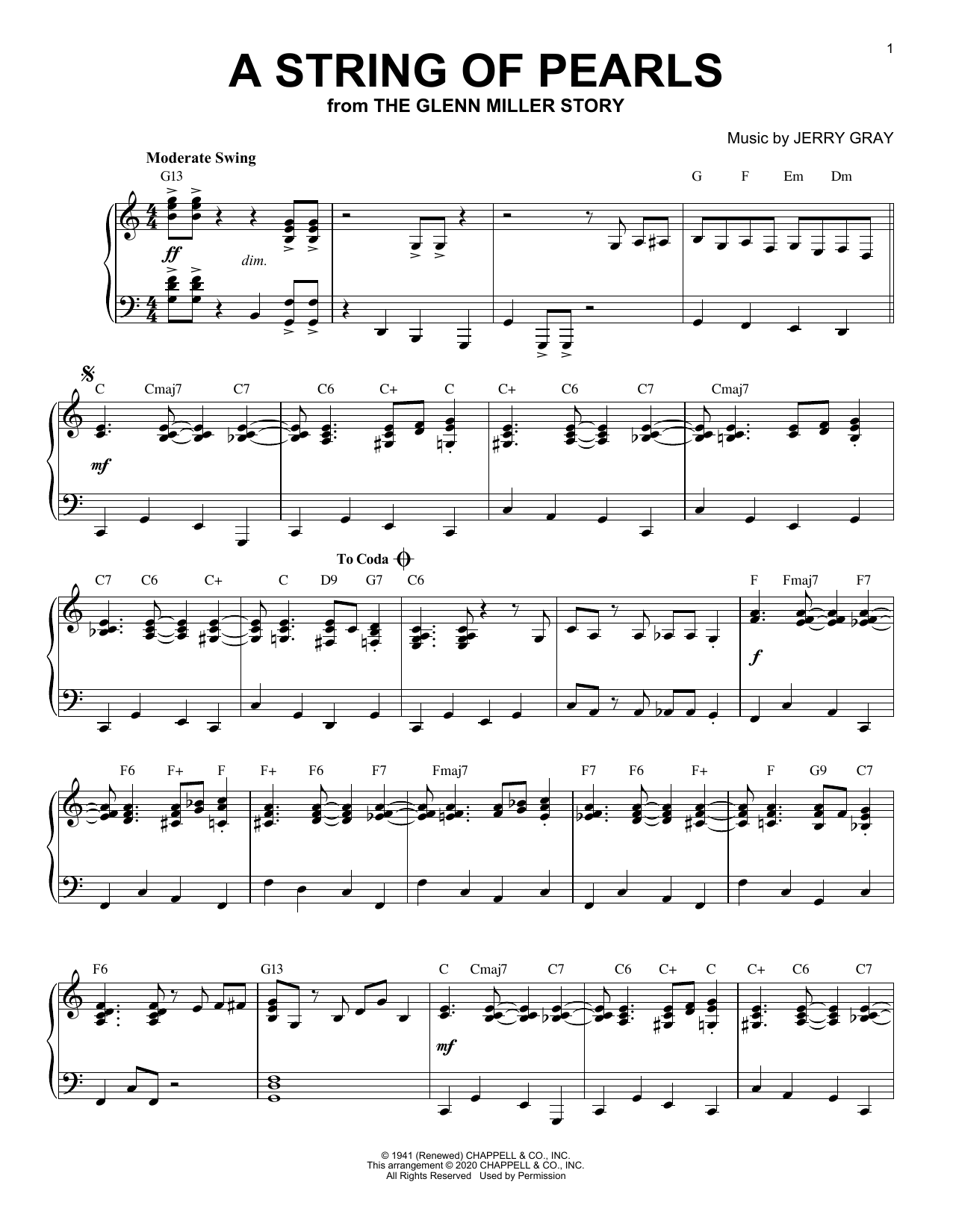 Eddie De Lange A String Of Pearls [Jazz version] (from The Glenn Miller Story) (arr. Brent Edstrom) sheet music notes printable PDF score