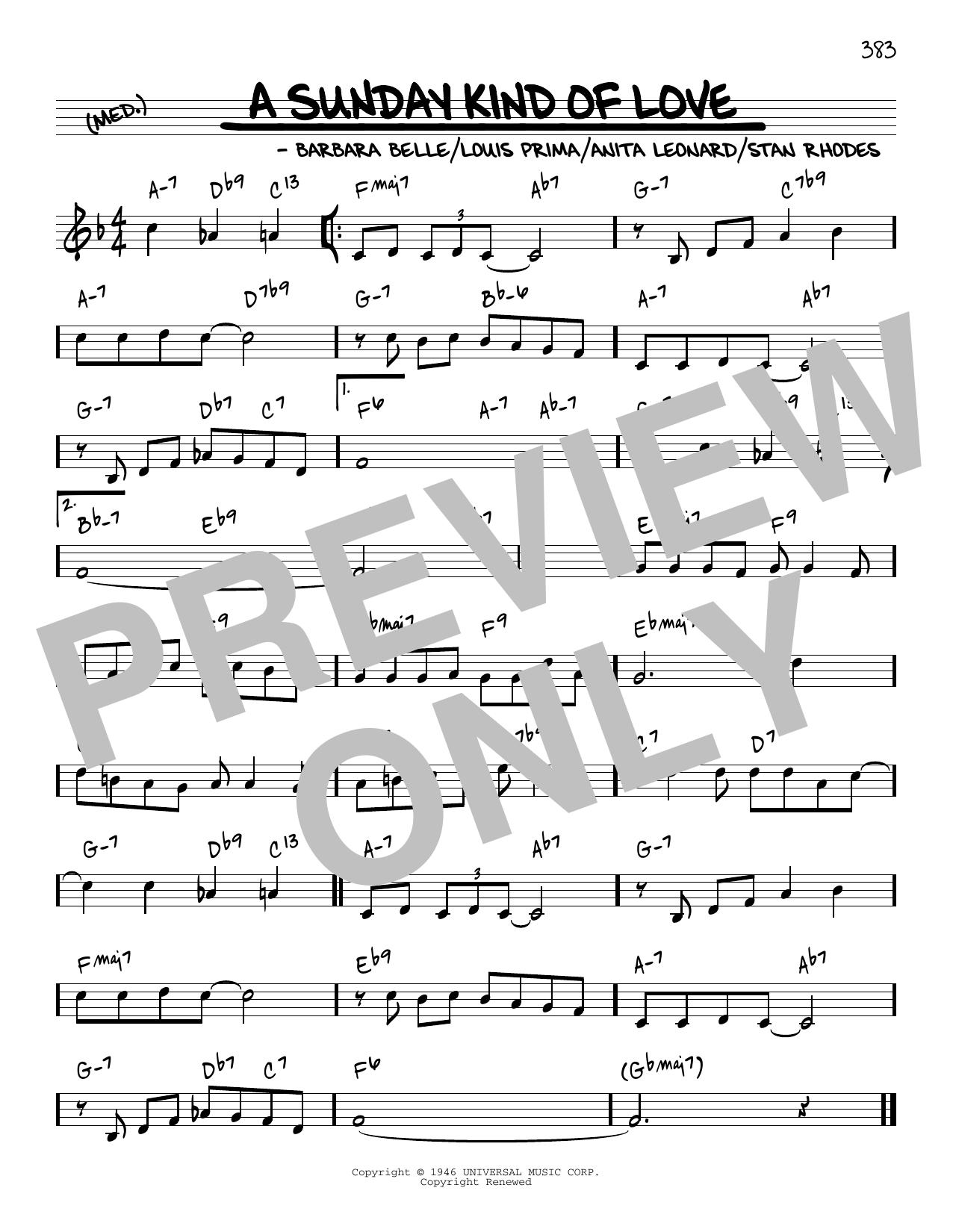 Reba McEntire A Sunday Kind Of Love [Reharmonized version] (arr. Jack Grassel) sheet music notes printable PDF score