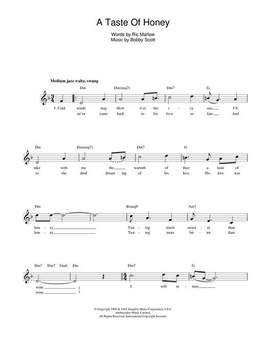 Marlow And Scott A Taste Of Honey sheet music notes printable PDF score