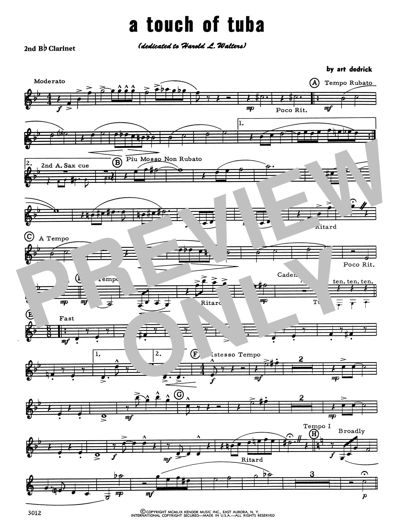 Art Dedrick A Touch Of Tuba - 2nd Bb Clarinet sheet music notes printable PDF score