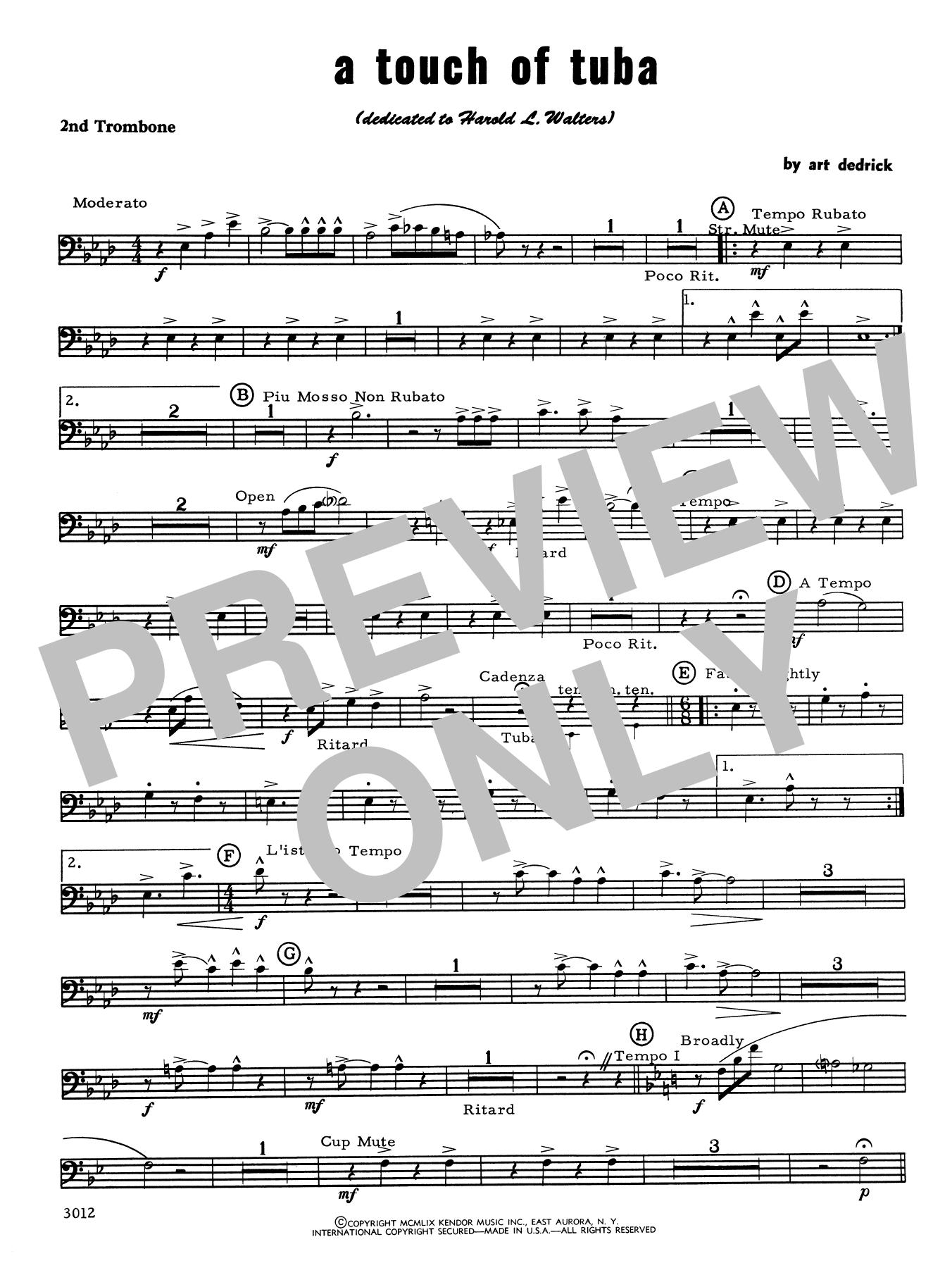 Art Dedrick A Touch Of Tuba - 2nd Trombone sheet music notes printable PDF score