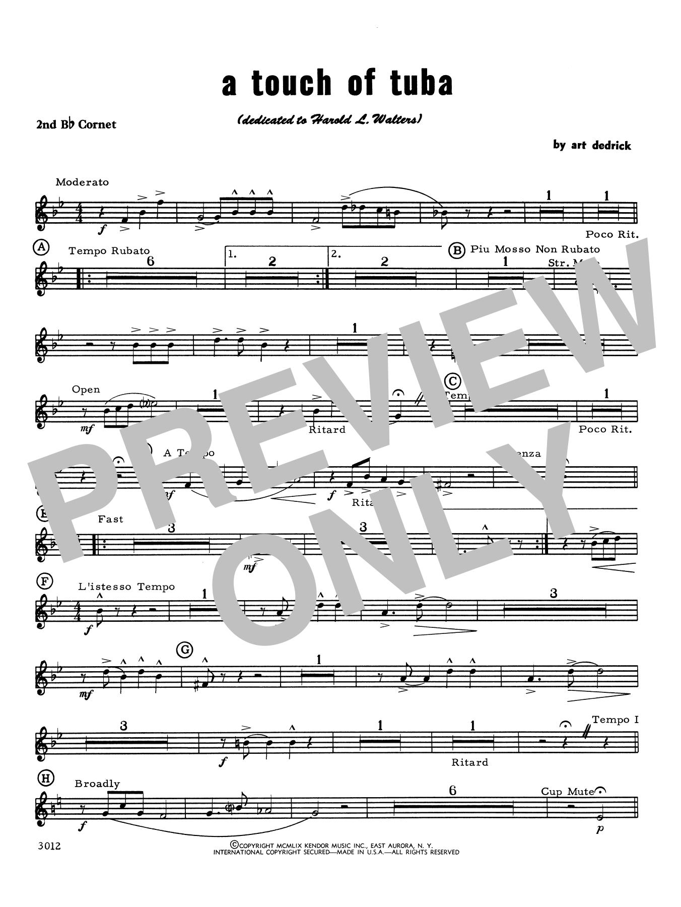 Art Dedrick A Touch Of Tuba - Cornet 2 sheet music notes printable PDF score