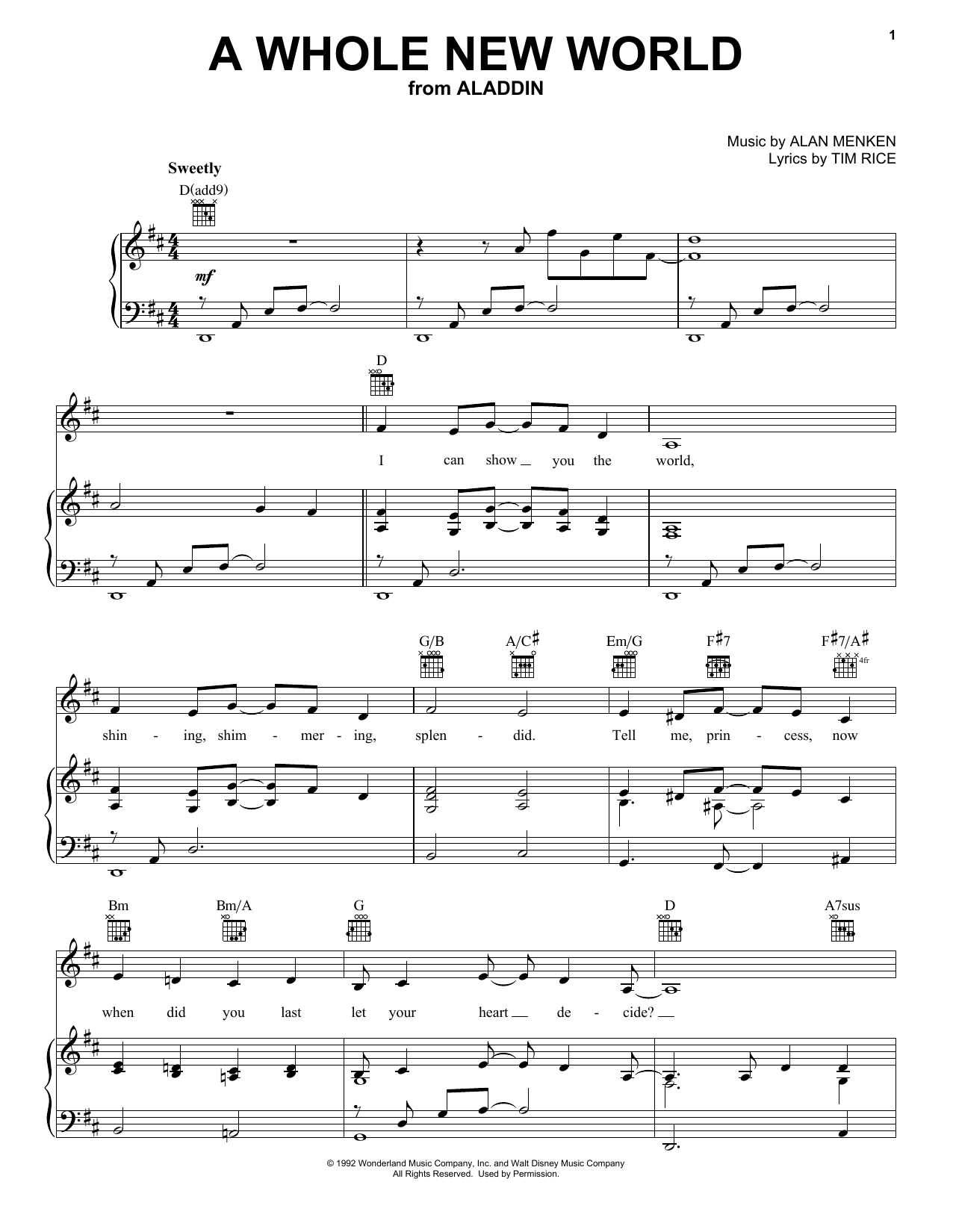 Alan Menken A Whole New World (from Aladdin) sheet music notes printable PDF score