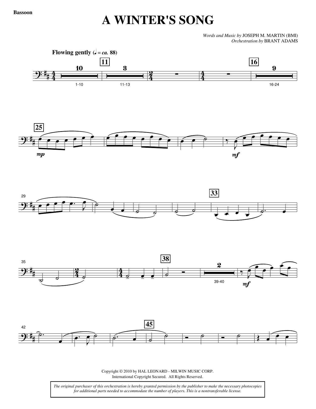 Joseph M. Martin A Winter's Song (from Winter's Grace) - Bassoon sheet music notes printable PDF score