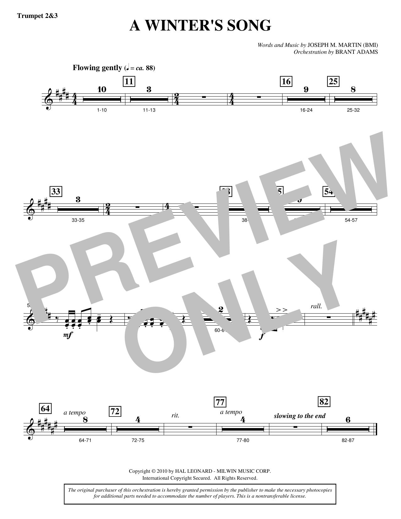 Joseph M. Martin A Winter's Song (from Winter's Grace) - Bb Trumpet 2,3 sheet music notes printable PDF score