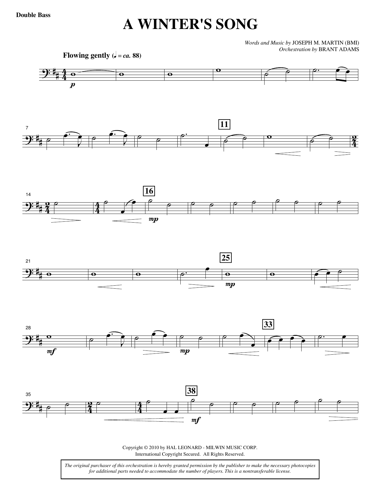Joseph M. Martin A Winter's Song (from Winter's Grace) - Double Bass sheet music notes printable PDF score