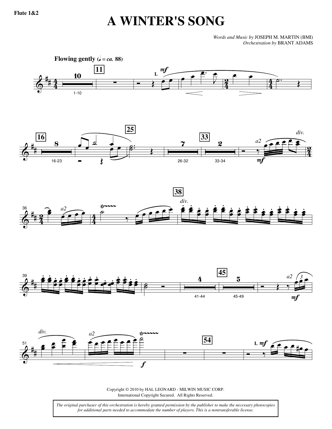 Joseph M. Martin A Winter's Song (from Winter's Grace) - Flute 1 & 2 sheet music notes printable PDF score