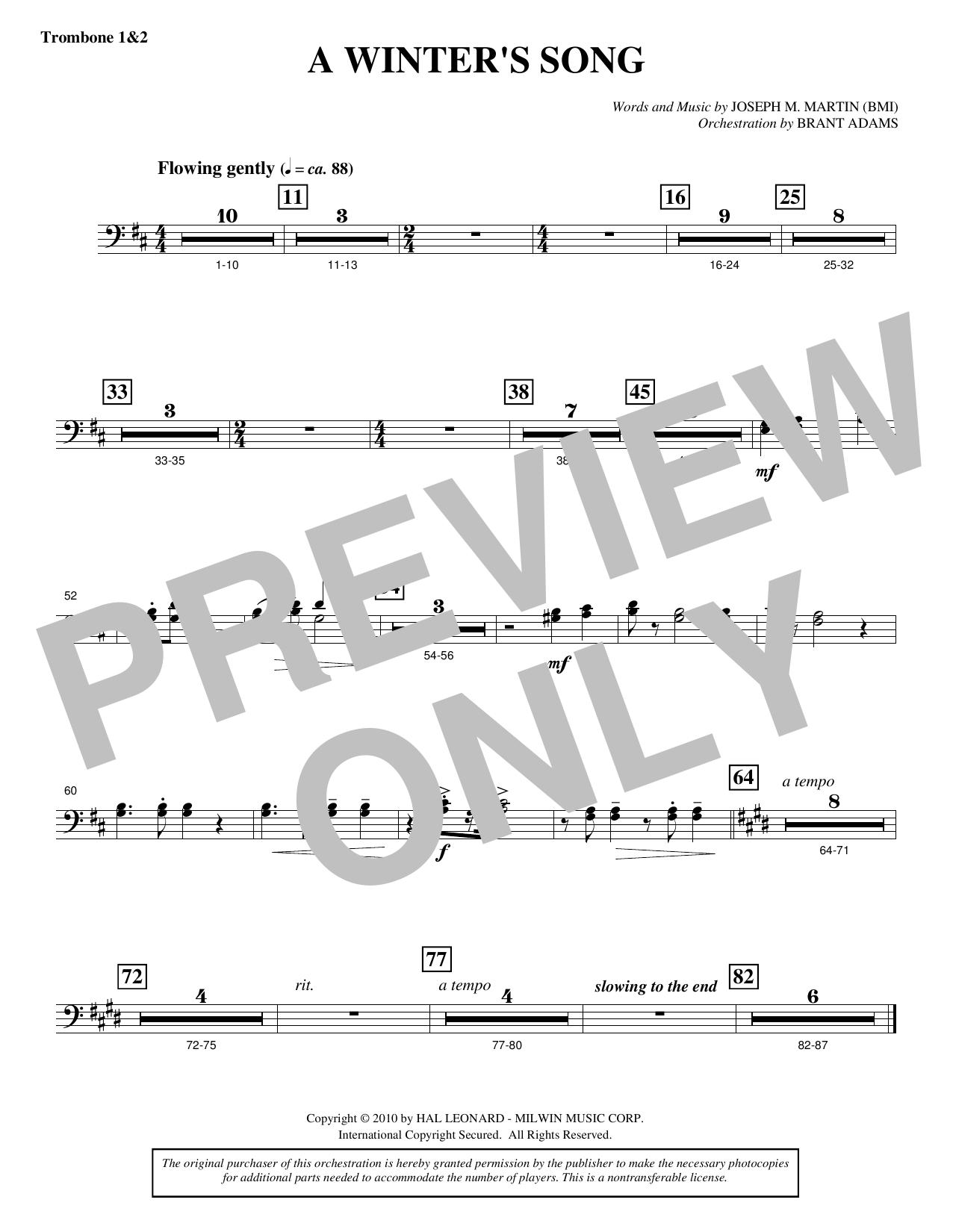Joseph M. Martin A Winter's Song (from Winter's Grace) - Trombone 1 & 2 sheet music notes printable PDF score