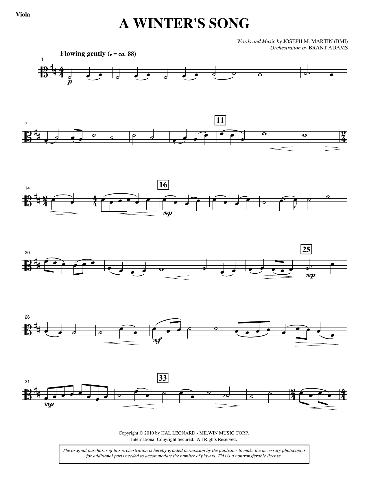 Joseph M. Martin A Winter's Song (from Winter's Grace) - Viola sheet music notes printable PDF score