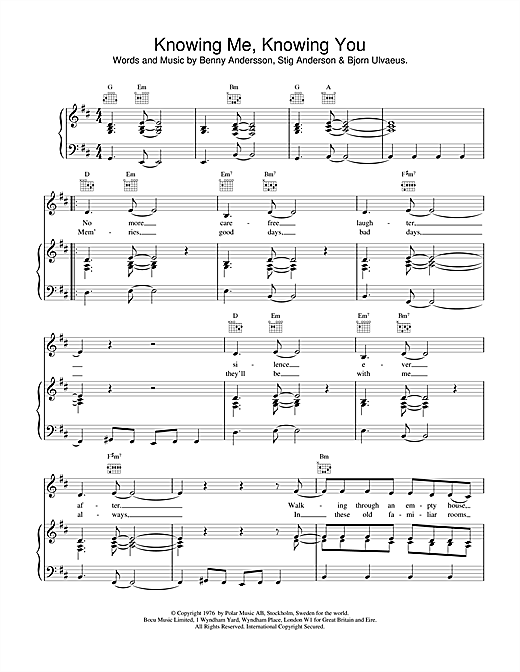 ABBA Knowing Me, Knowing You sheet music notes and chords. Download Printable PDF.
