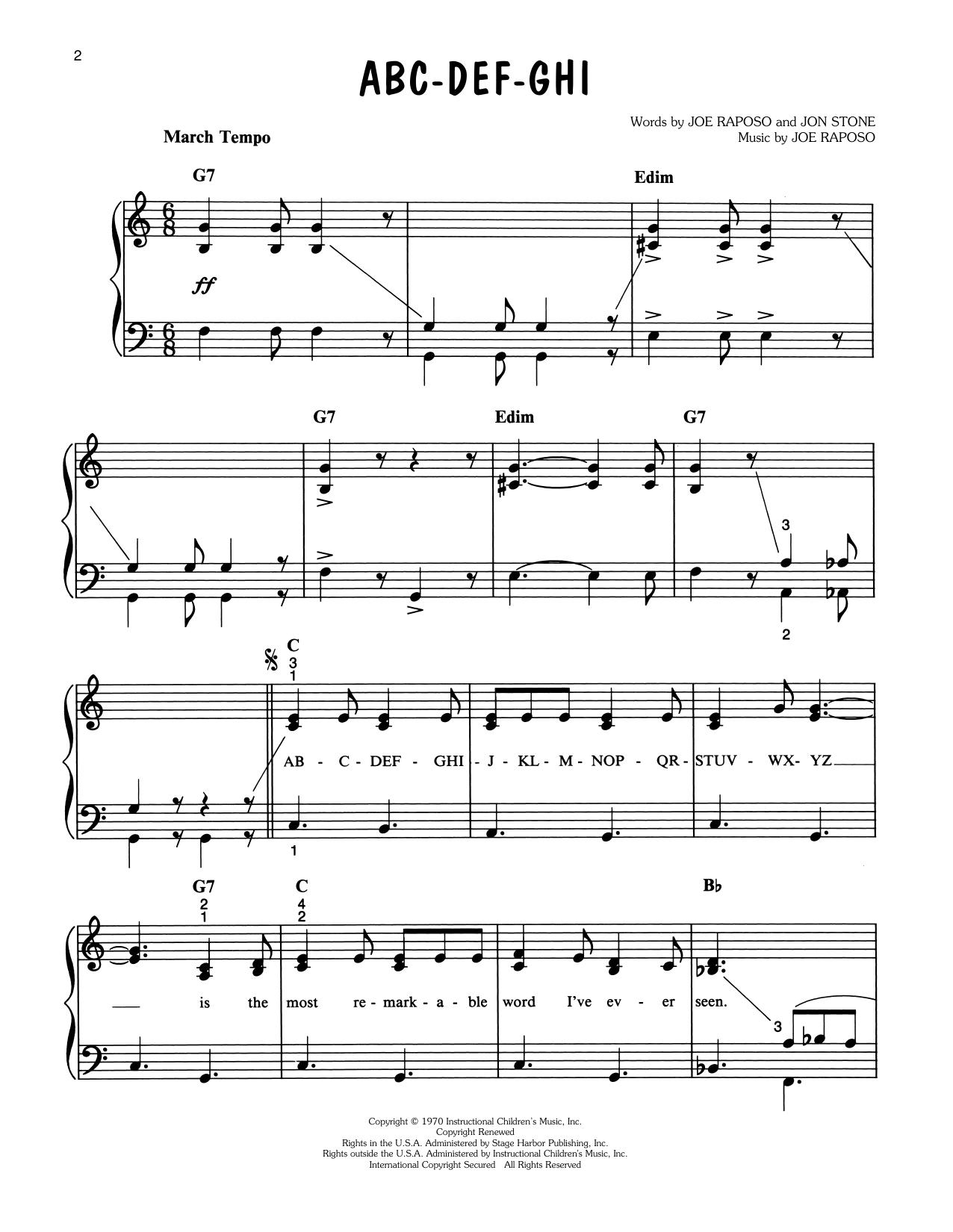 Big Bird ABC-DEF-GHI (from Sesame Street) sheet music notes printable PDF score