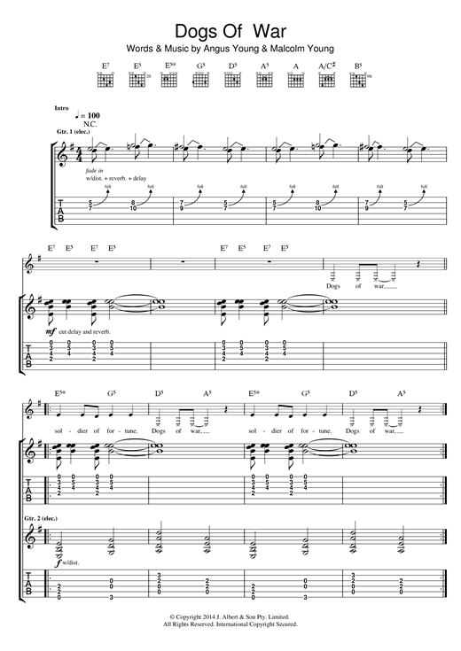 AC/DC Dogs Of War sheet music notes and chords. Download Printable PDF.