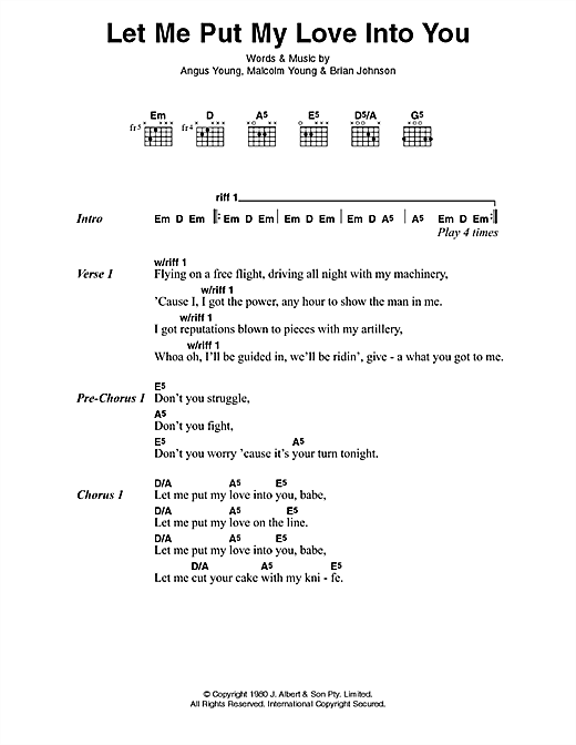 AC/DC Let Me Put My Love Into You sheet music notes and chords. Download Printable PDF.