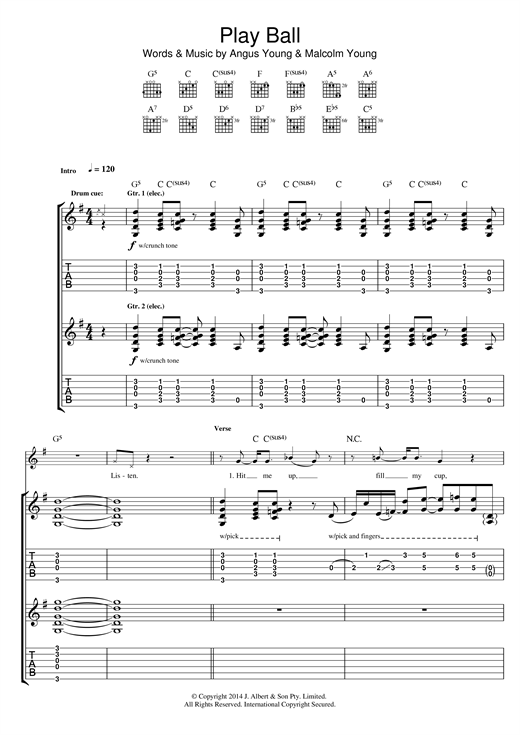 AC/DC Play Ball sheet music notes and chords. Download Printable PDF.