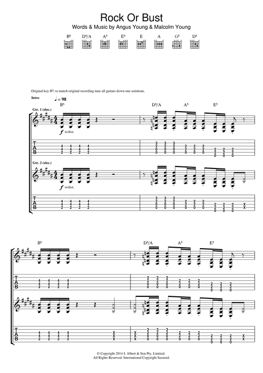 AC/DC Rock Or Bust sheet music notes and chords. Download Printable PDF.