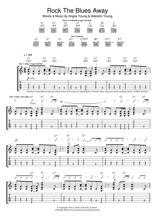 AC/DC Rock The Blues Away sheet music notes and chords. Download Printable PDF.