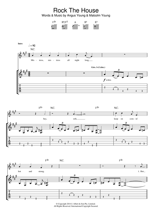AC/DC Rock The House sheet music notes and chords. Download Printable PDF.
