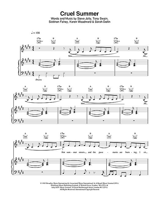 Ace Of Base Cruel Summer sheet music notes printable PDF score