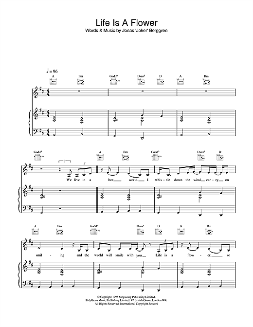 Ace Of Base Life is a Flower sheet music notes printable PDF score