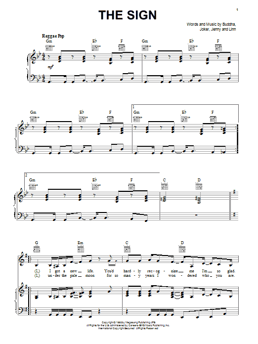 Ace Of Base The Sign sheet music notes and chords. Download Printable PDF.